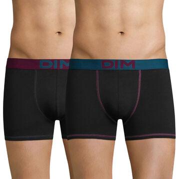 Lot de 2 boxers noirs ceintures colorés Mix & Colors, , DIM