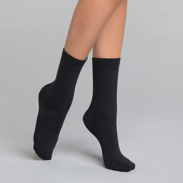 Chaussettes femme coton anthracites - Dim Basic Coton 397a5beeeaa