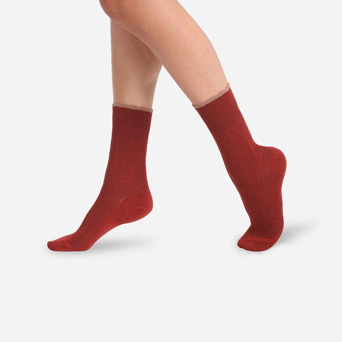 Chaussettes femme en laine avec top band fantaisie Rouge Cardinal Dim, , DIM