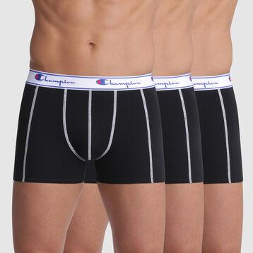 Lot de 3 boxers noirs coutures apparentes - Champion, , DIM