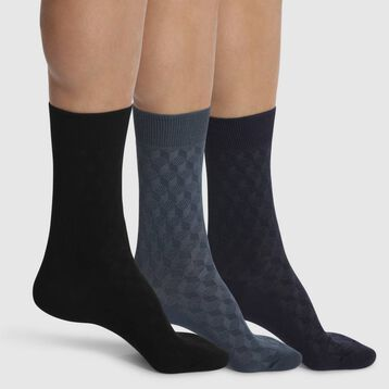 Lot de 3 mi-chaussettes pour homme Noires et Bleues Coton Style, , DIM