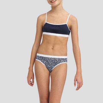 Lot de 3+1 culottes pour fille en coton stretch Matelot Les Pockets, , DIM
