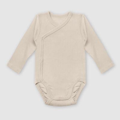 Lot de 2 body coton bio cache coeur à manches longues Kaki Dim Baby, , DIM