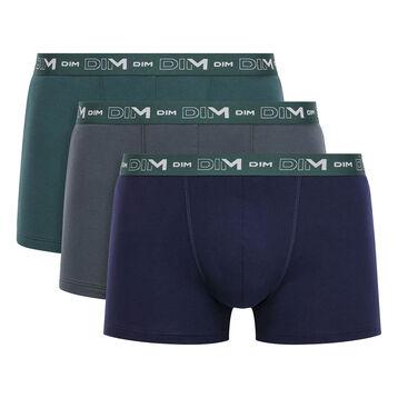 Lot de 3 boxers Vert Pacifique, Granite et Denim en coton stretch homme, , DIM