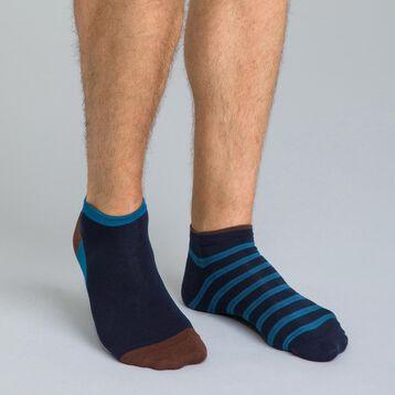 Lot de 2 socquettes bleues à rauyres  en coton Homme-DIM