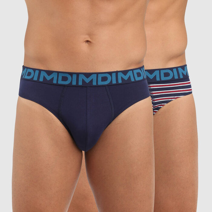 Lot de 2 slips homme coton stretch imprimé rayures Bleu Mix and Fancy , , DIM
