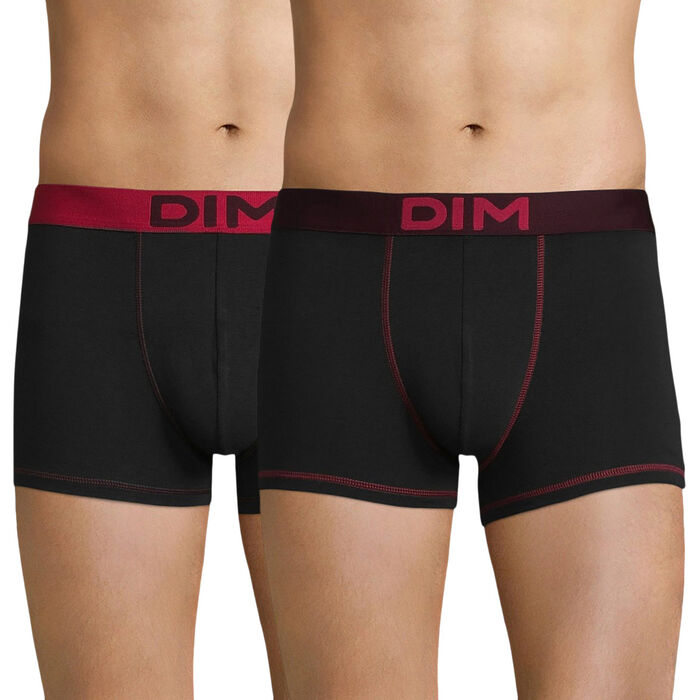 Lot de 2 boxers homme noir & rouge - DIM Mix & Colors, , DIM
