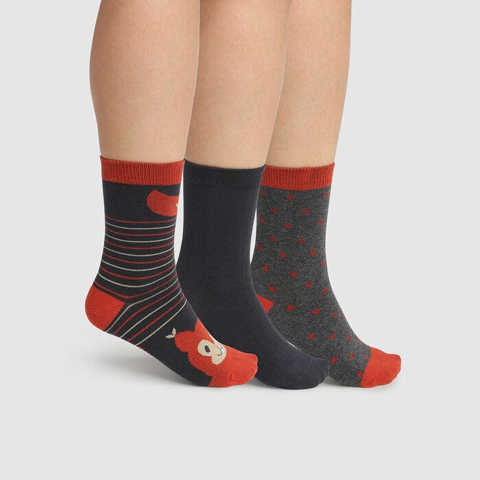 Lot de 3 paires de chaussettes coton écureuil Beige Kids Coton Style , , DIM