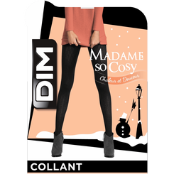 Collant noir maille côtelée 158D Madame so Cosy-DIM