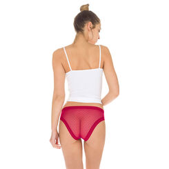 Lot de 2 slips rouges en coton et dentelle Sexy Transparency-DIM