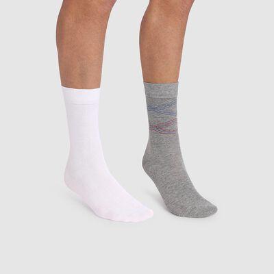 Lot de 2 paires de chaussettes hommes imprimé lignes gris Coton Style, , DIM