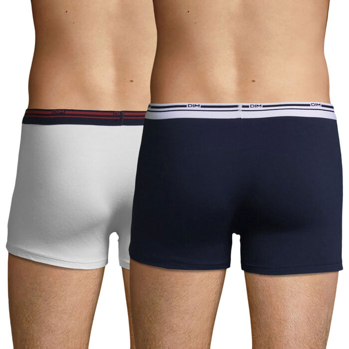 Lot de 2 boxers coton stretch Blanc et Bleu Denim Daily Colors, , DIM