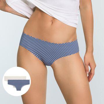 Lot de 2 culottes Hipsters Bleu Pois et Nacre Body Touch Microfibre, , DIM