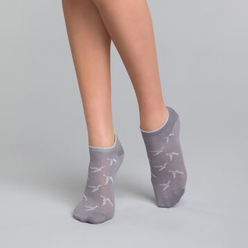 Socquettes courtes coton grises & lurex argent - Dim Coton Style, , DIM