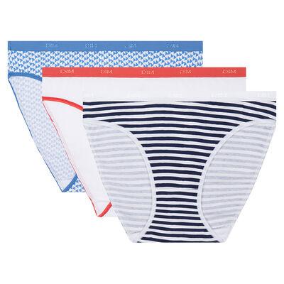 Lot de 3 culottes imprimé côte d'azur Les Pockets Coton Stretch de Dim, , DIM