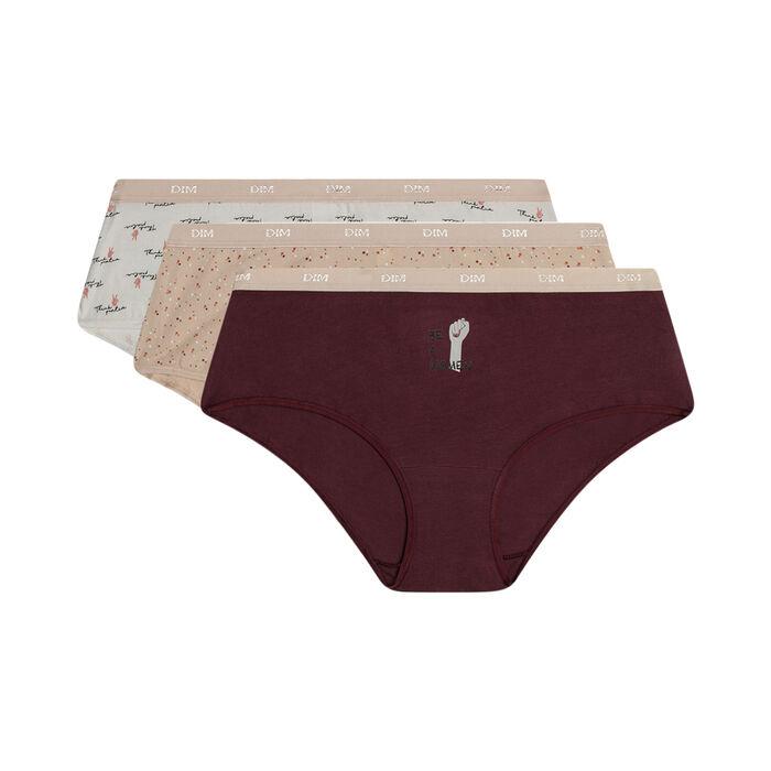Lot de 3 boxers femme en coton stretch à messages féminins Les Pockets, , DIM