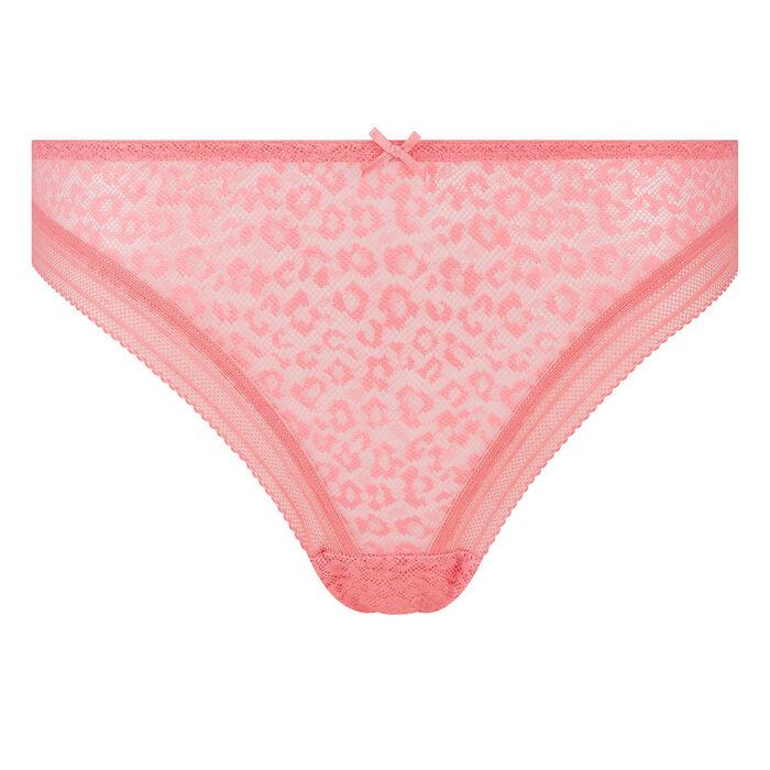 Tanga en microfibre rose corail imprimé dentelle léopard Dotty Mesh, , DIM