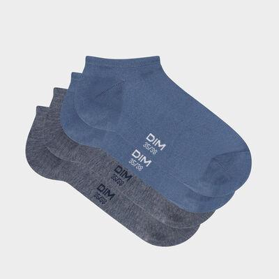 Lot de 2 paires de socquettes courtes femme Bleu Minuit Basic Coton, , DIM