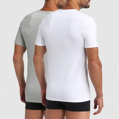 Lot de 2 tshirts homme coton bio à col V blanc gris perle Green by Dim, , DIM