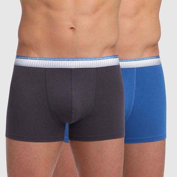 Lot de 2 boxers gris granit bleu ocean ceinture ajustée Absolu Fit , , DIM