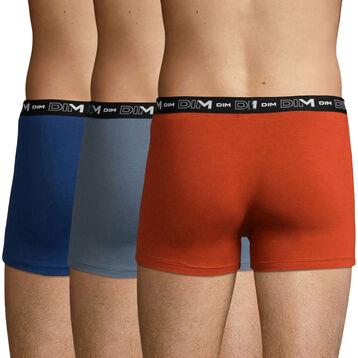 Lot de 3 boxers Gris Souris, Terre et Bleu Éclipse en coton stretch, , DIM