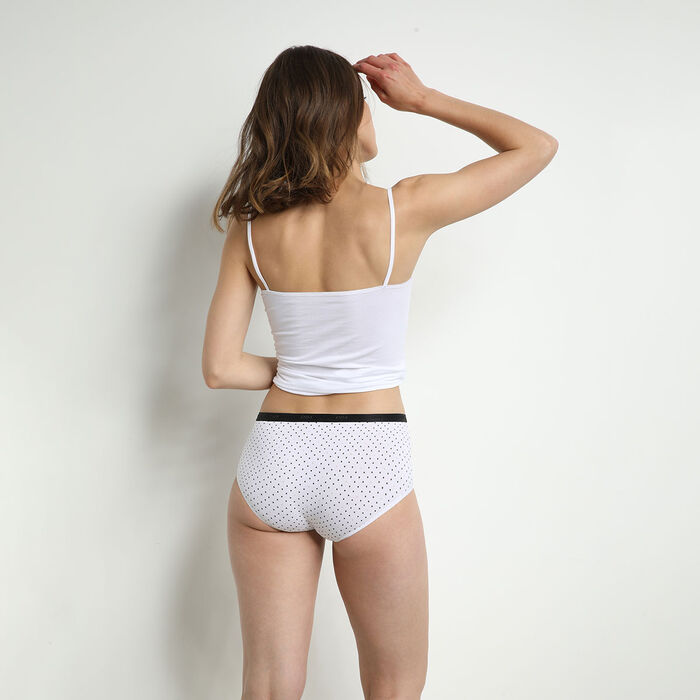 Lot de 3 boxers femme en coton stretch motifs noir blanc Les Pockets, , DIM