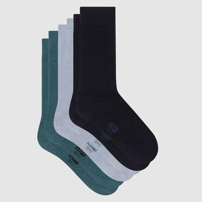 Lot de 3 paires de chaussettes homme coton Bleu Vert Basic Coton, , DIM