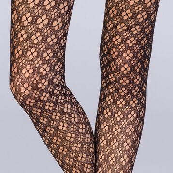 Collant résille fleurs graphiques noir Femme Les Fantaisies , , DIM