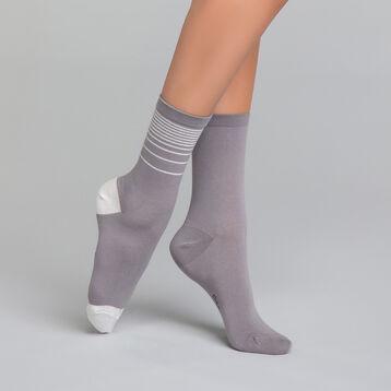 Lot de 2 mi-chaussettes grises lurex argent - Dim Coton Style, , DIM