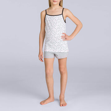 Pyjama débardeur Gris chiné nœuds DIM GIRL, , DIM