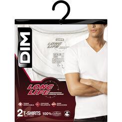 Lot de 2 T-shirts blancs à col en V coton résistant, , DIM