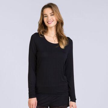 T-shirt à manches longues noir Pure Essential Femme-DIM
