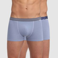 Lot de 2 boxers bleu glacier coton stretch ceinture imprimée Mix and Print, , DIM
