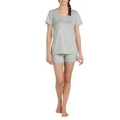 Short de pyjama gris chiné 100% coton Femme-DIM