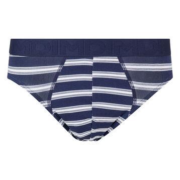 Boxer homme bleu blanc en coton stretch à rayures Mix & Fancy, , DIM
