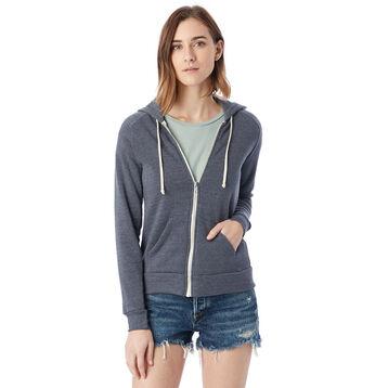 Sweat à capuche zippé bleu marine Femme-DIM