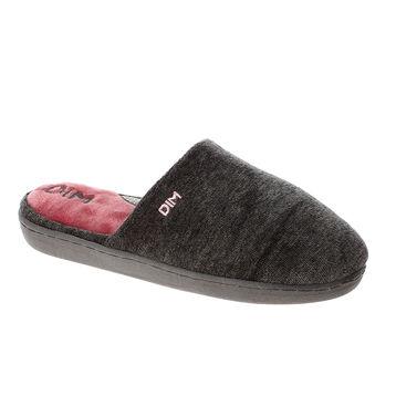 Chaussons pantoufles gris foncé en velours Femme-DIM