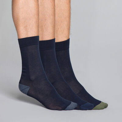 3-pack navy blue Men's socks, , DIM