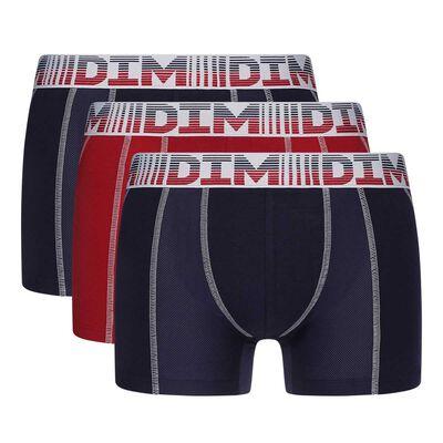 Lot de 3 boxers homme avec zones mesh Bleu Denim Rouge 3D Flex Air, , DIM