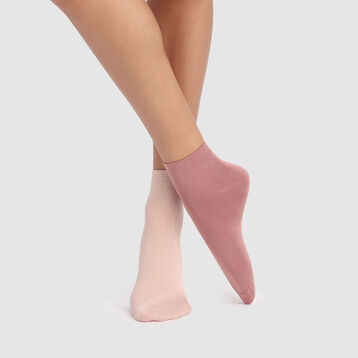 Lot de 2 paires de socquettes femmes vieux rose en microfibre Dim Skin , , DIM
