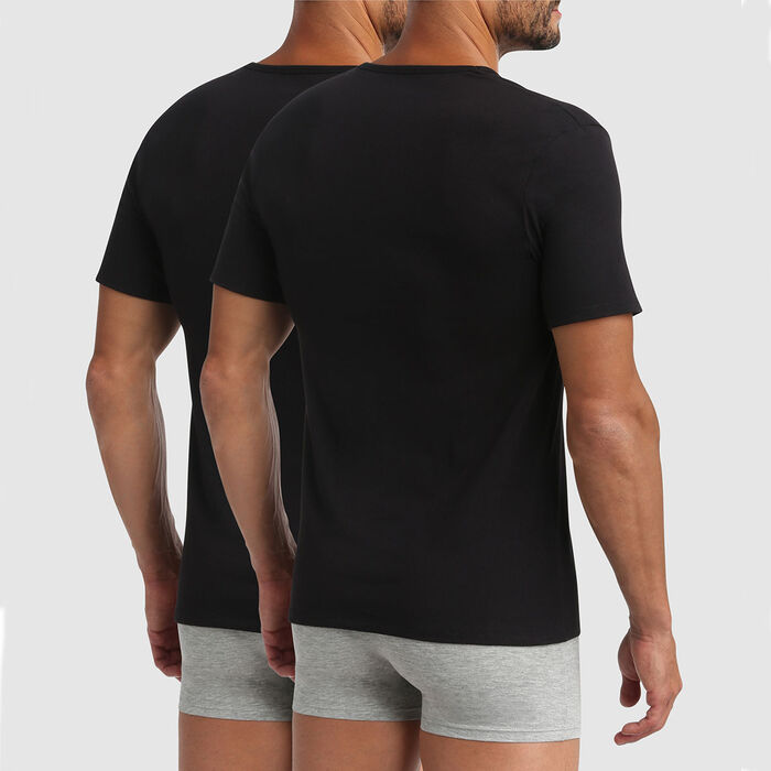 Lot de 2 t-shirts col V thermorégulation active noir XTemp Dim, , DIM
