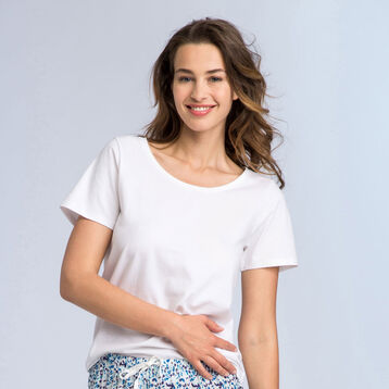 T-shirt blanc à manches courtes Soft & Cool Femme, , DIM