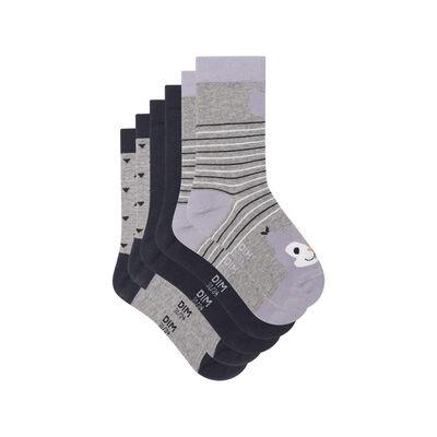 Lot de 3 paires de chaussettes en coton écureuil Gris Kids Coton Style, , DIM
