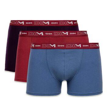 Lot de 3 boxers violet, bleu er rouge Coton Stretch-DIM