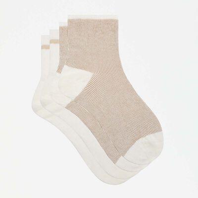 lot de 2 paires de socquettes fantaisies ivoire lurex or Coton Style, , DIM