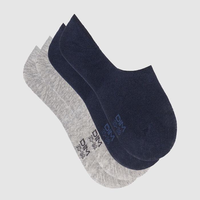 Lot de 2 paires de socquettes basses Bleu Marine Gris Basic Coton, , DIM