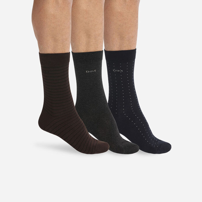 Lot de 3 paires de chaussettes homme rayures pois Marron Coton Style, , DIM