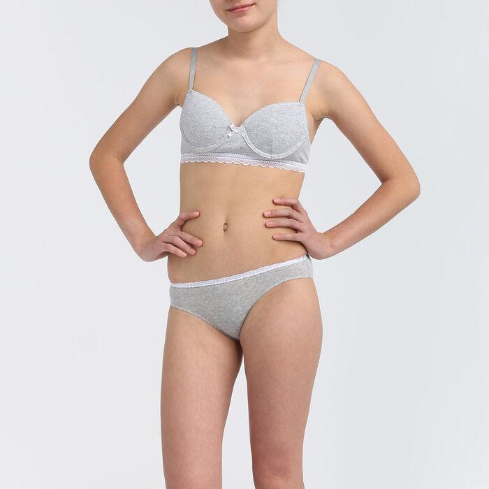 Culotte fille coton stretch à ceinture dentelle Gris Chiné Dim trendy, , DIM