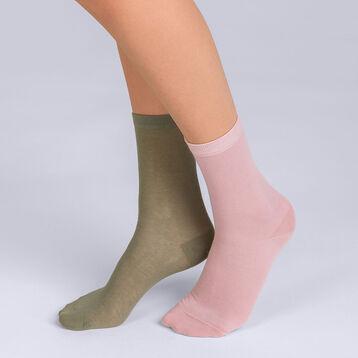 Lot de 2 socquettes courte Light Coton kaki et nude Femme-DIM