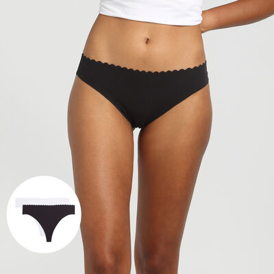 Lot de 2 strings en coton stretch noir/blanc Body Touch Coton, , DIM